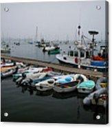 Maine Falmouth Boat Landing On Misty Morning Panorama Acrylic Print