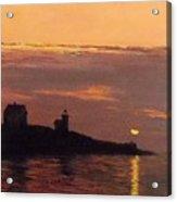 Maine Lighthouse Sundown Acrylic Print