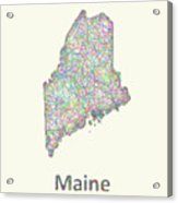 Maine Line Art Map Acrylic Print