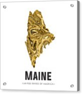 Maine Map Art Abstract In Golden Brown Acrylic Print