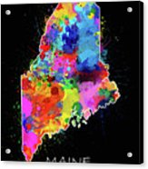 Maine Map Color Splatter 2 Acrylic Print