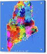 Maine Map Color Splatter 3 Acrylic Print
