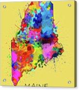 Maine Map Color Splatter 4 Acrylic Print