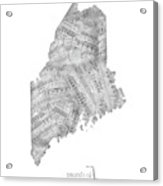 Maine Map Music Notes Acrylic Print