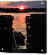 Maine Sunset And Traps Acrylic Print
