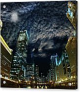 Majestic Chicago - Windy City Riverfront At Night Acrylic Print