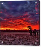 Majestic Red Clouds Winter Sunset The Iron Horse Art Acrylic Print