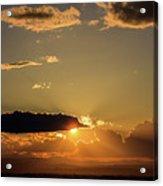 Majestic Vivid Sunset/sunrise With Dark Heavy Clouds And Sunrays Acrylic Print