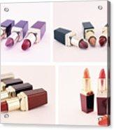 Makeup Set Of Lipsticks Isolated Acrylic Print