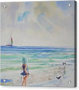 Making Friends At The Beach Acrylic Print