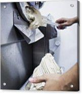 Making Gelato Ice Cream With Modern Machine Acrylic Print