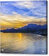 Makrygialos Sunset Digital Painting Acrylic Print