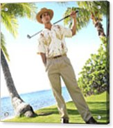 Male Golfer Acrylic Print by Brandon Tabiolo - Printscapes