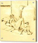 Male Nude Reclining On Cushion Acrylic Print