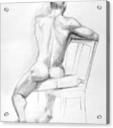Male Nude With Chair Acrylic Print