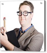 Male Office Pa Writing In Diary. Event Planner Acrylic Print by Jorgo Photography - Wall Art Gallery