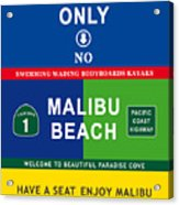 Malibu Beach California Surf Acrylic Print