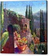 Mallorcan Monastery Acrylic Print by Shirley Leswick