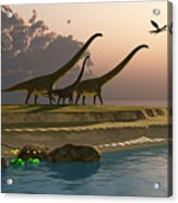 Mamenchisaurus Dinosaur Morning Acrylic Print