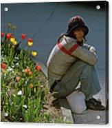 Man Alone Sitting On Curb Acrylic Print
