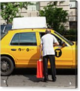 Man Asks For Information A Taxi Driver In Manhattan. Acrylic Print