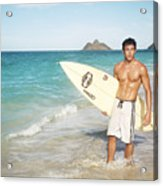 Man At The Beach With Surfboard Acrylic Print by Brandon Tabiolo - Printscapes