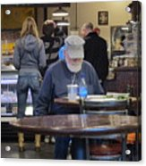 Man Does Not Notice Woman Behind Him Acrylic Print