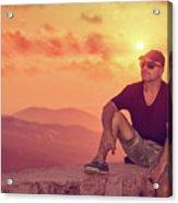 Man Enjoying Sunset Acrylic Print