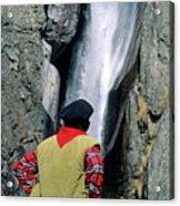 Man Facing A Waterfall Acrylic Print