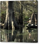 Man Fishing In Cypress Swamp Acrylic Print