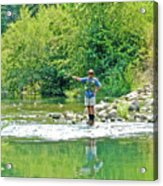 Man Fly Fishing In Canyon Creek Near Winters-california Acrylic Print