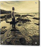 Man Gazing Out On Coastal Rocks Acrylic Print