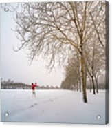 Man In Red Taking Picture Of Snowy Field And Trees Acrylic Print