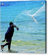 Man Launching His Fishing Net Into The Crystal Water Acrylic Print