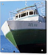Man Looking Up At A Beached Passenger Ship On Cozumel Island Acrylic Print