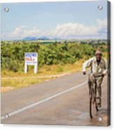 Man On Bicycle In Zambia Acrylic Print