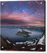 Man On Hilltop Viewing Crater Lake With Full Moon Acrylic Print