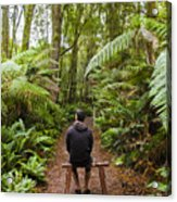Man Relaxing In Strahan Rainforest Retreat Acrylic Print