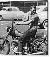 Man Riding A Motorcycle Acrylic Print