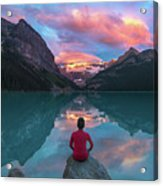 Man Sit On Rock Watching Lake Louise Morning Clouds With Reflect Acrylic Print