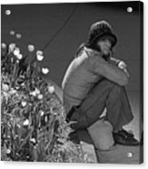Man Sitting Along Curb  Acrylic Print