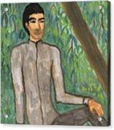 Man Sitting Under Willow Tree Acrylic Print