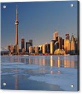 Man Standing On Frozen Lake Ontario Ice Looking At Toronto City  Acrylic Print