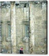 Man Walking Between Columns At The Roman Theatre Acrylic Print
