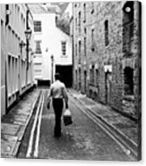 Man Walking With Shopping Bag Down Narrow English Street Acrylic Print