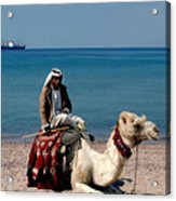 Man With Camel At Red Sea Acrylic Print