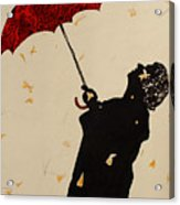 Man With Red Umbrella    Acrylic Print