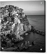 Manarola Dusk Cinque Terre Italy Bw Acrylic Print