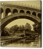 Manayunk Canal In Sepia Acrylic Print by Bill Cannon