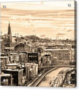 Manayunk In March - Canal View In Sepia Acrylic Print
